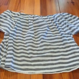 Off shoulder grey and white striped shirt NWT
